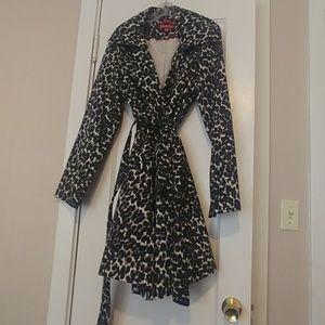 Grey Leopard Trench Raincoat